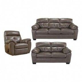 Sectional Sofa Bastrop Bonded Sofa Loveseat and Rocker Recliner in Gray Nebraska Furniture Mart