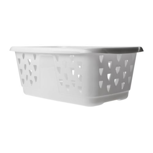 "BLASKA Laundry basket IKEA; $4.99;  23 3/3 x 15 x 9 1/2 "";  good for storage on shelving units."