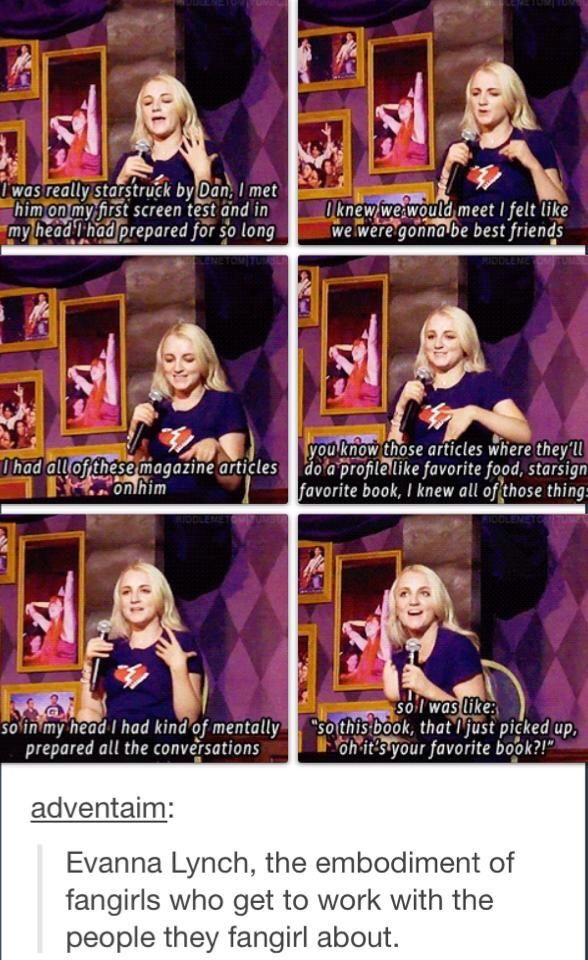 Evanna Lynch fangirling over Daniel Radcliffe. Love her!!