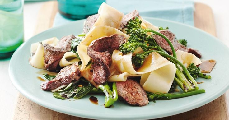 Achieve pasta perfection with this dish combining pappardelle, fresh healthy greens and lean beef.