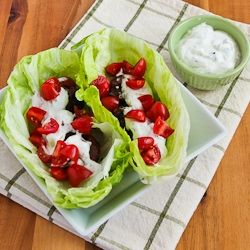 Kalyn's Kitchen®: Recipe for Ground Beef Gyro Meatball Lettuce Wraps with Tzatziki and Tomatoes [#SouthBeachDiet friendly]