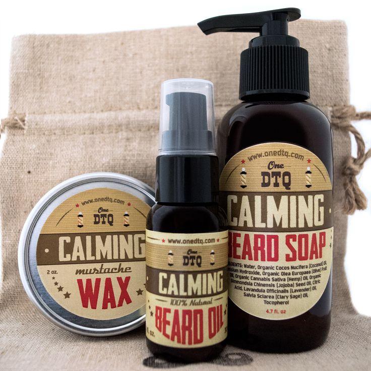Beard and Mustache Care Gift Set: Calming beard wash (4 fl oz), beard oil( 1 fl…