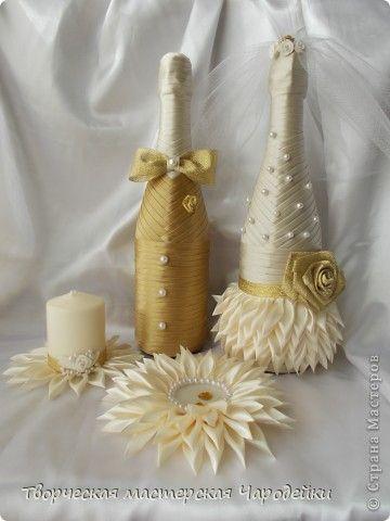Декор предметов Свадьба Лепка Цумами Канзаши Золотые мечты Банки стеклянные Воск парафин Ленты фото 1