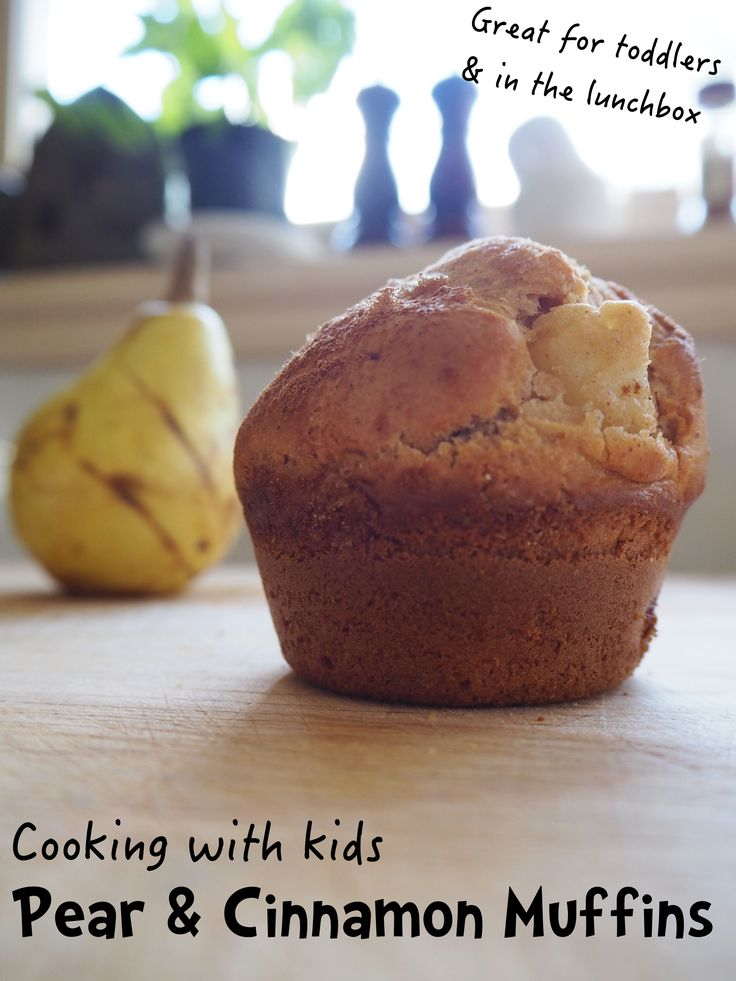 Make this delicious pear and cinnamon muffin recipe as a fun idea for cooking with kids.