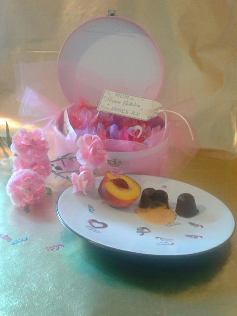 hand made chocolates in a personalised  box.