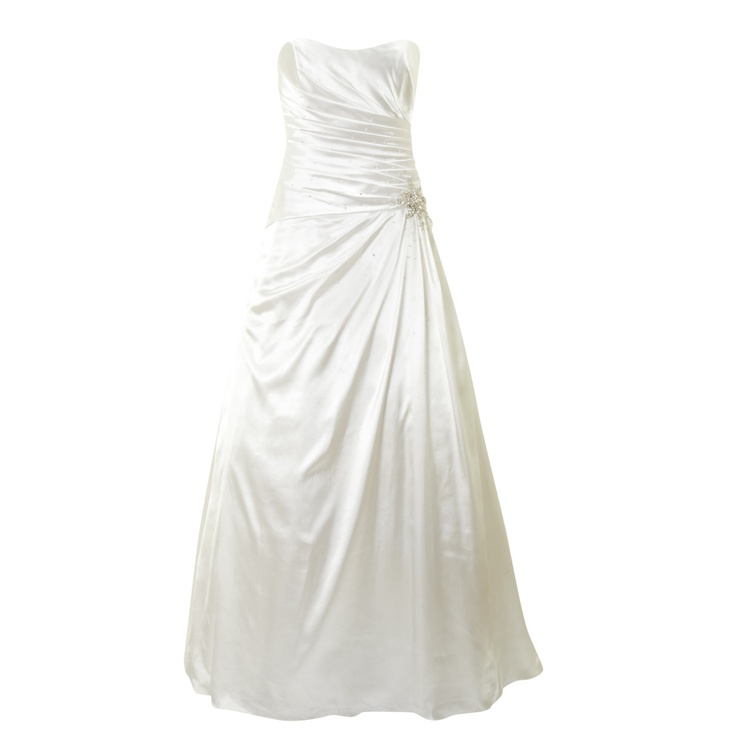 Ivory ruched embellished satin bridal dress for for Tk maxx dresses for weddings