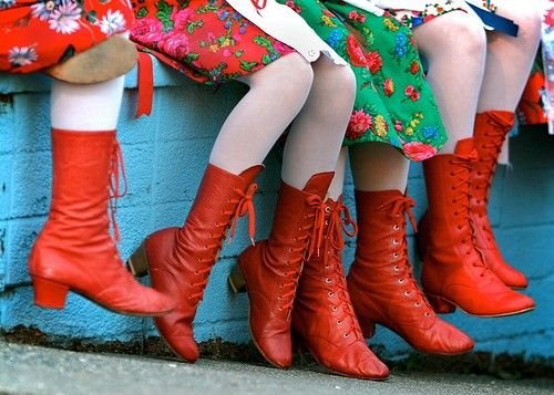 Red polish dance boots. Goes with the piercing whoop the dancers make?