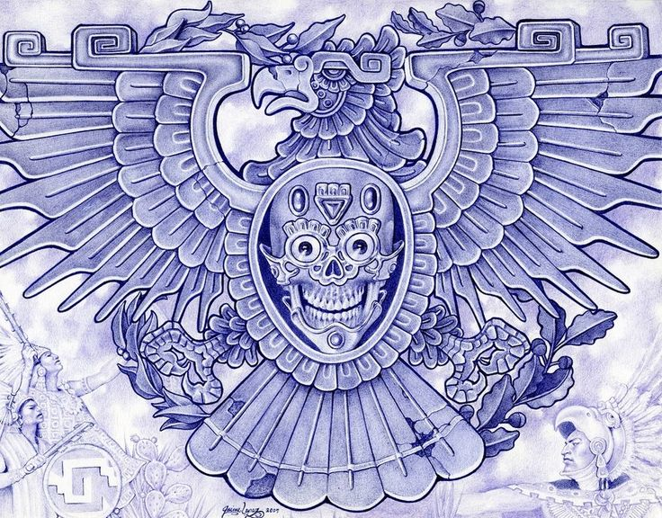 Blue Eagle by Mouse Lopez Aztec Bird Symbol Giclee Art Print #OutsiderArt