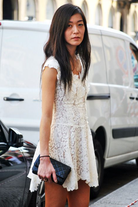 this white lace dress creates such a clean look, even though it is short...Lace #dress #lace