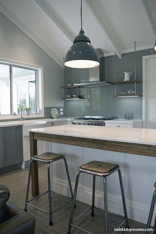 A closer look inside the kitchen, painted in Resene Half Linen.