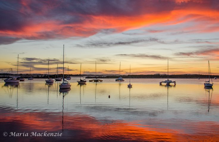 Sunset at Iluka Bay NSW as the clouds were so red/orange lasting only for a short time.