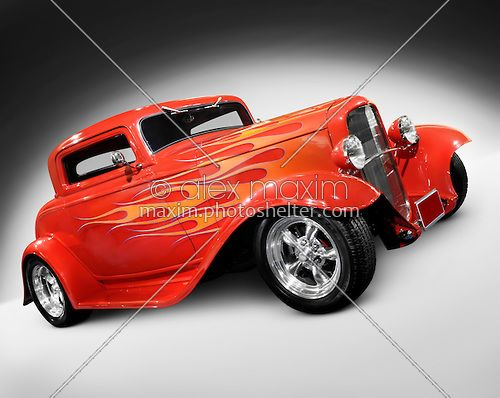 Custom Flames On Cars | Stock photo: 1932 Red Hot rod Ford 3-window coupe retro car with flame ...