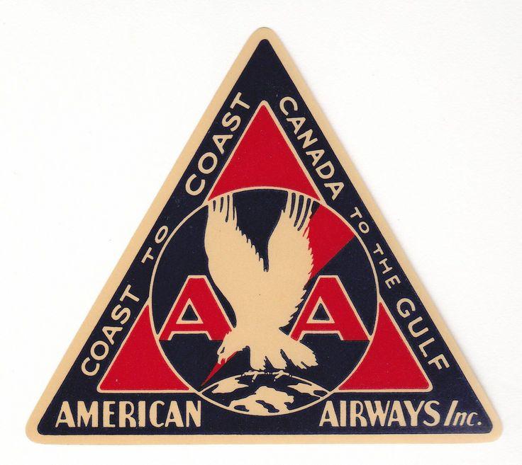 american airways luggage label c 1930s1940s vintage