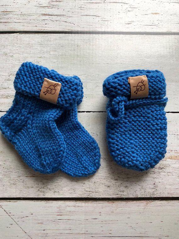 Hand knitted newborn Baby socks