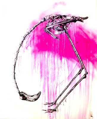 Flamingo-Hooligan art by Tim Niall-Harris from Savaged Soul Contemporary-Art-Gallery-online.