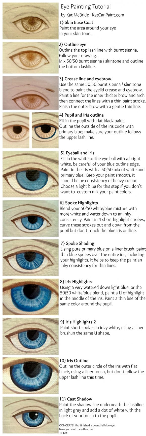Eye painting tutorial via katcanpaint.com