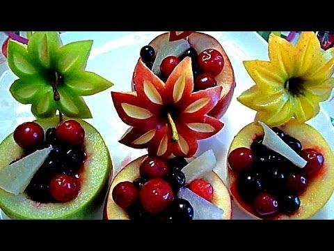 Украшения из фруктов. Карвинг из яблок. Очень красивый десерт! Decorations from fruits   Еда-Карвинг.   Постила