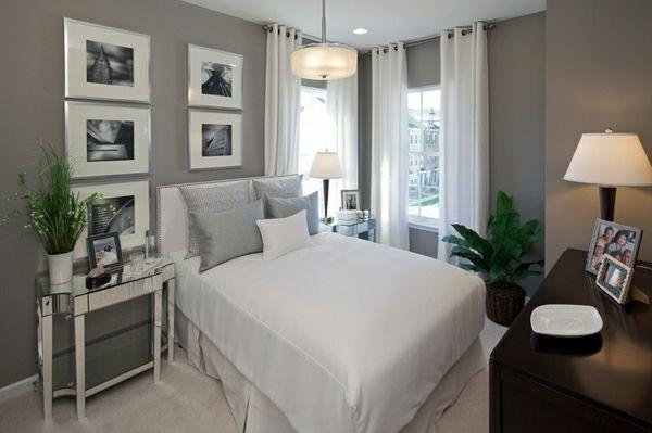 blickdichte vorhänge weiß schlafzimmer hellgraue wände