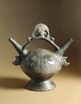 Pre-Inca civilization, Peru, 14th century. Chimu culture. Lambayeque style vase.  Rome, Museo Preistorico Etnografico Pigorini