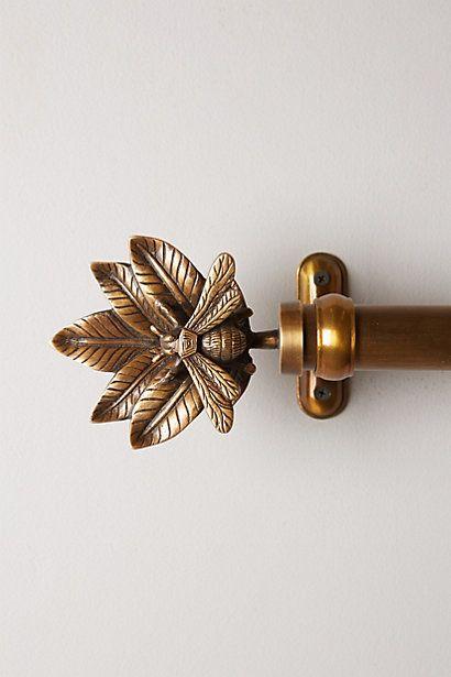 Queen Bee Finials, bronzed gold finish, decadent, window drapes