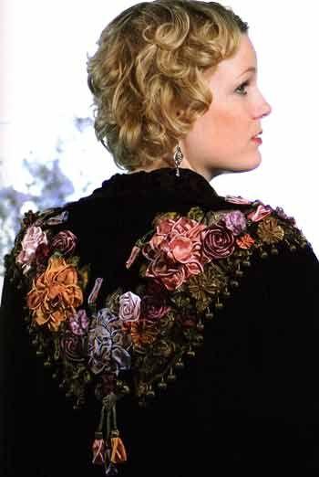 Elegant Ribbonwork (example of work using Helen Gibb's technique of ribbon work/flowers)