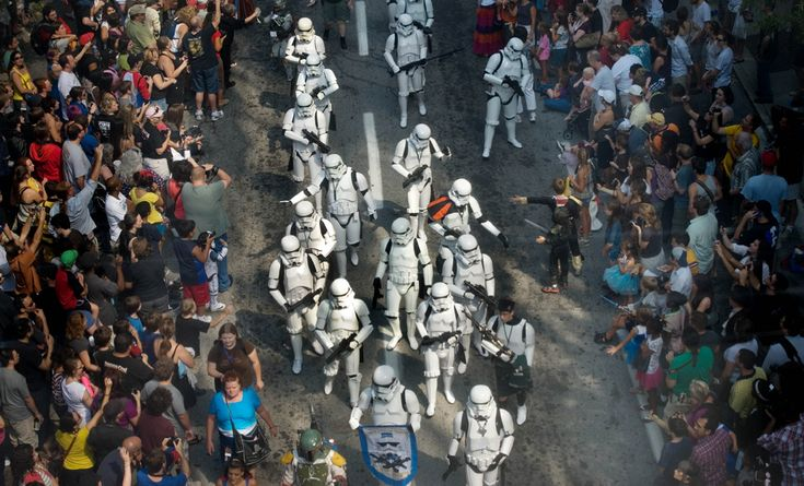 Star Wars Storm Troopers match in the Dragoncon parade on Sept. 3 in Atlanta. Dragoncon is a multimedia convention held annually over Labor Day weekend that draws tens of thousands of comic book, fantasy, gaming, comics, literature, art, music film and science-fiction fans.