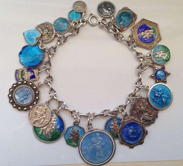 Vintage Charm Bracelet Collection - Blue St. Christopher Medals Silver & Enamel Charm Bracelet SOLD