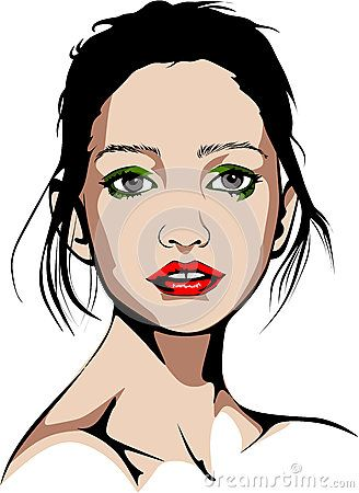 Colored vector illustration of a ballet dancer blue-eyed woman with red lipstick and green makeup.