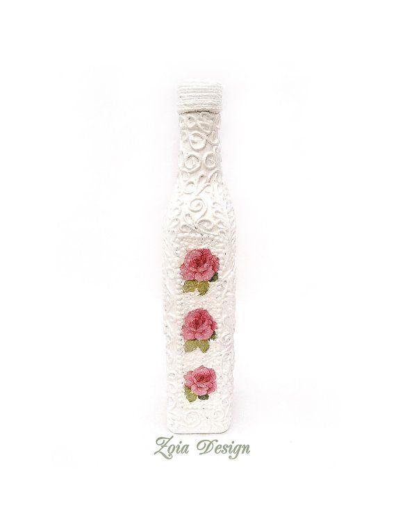 Weisse Schmuckflasche Flasche dekorative Flasche  von ZoiaDesign
