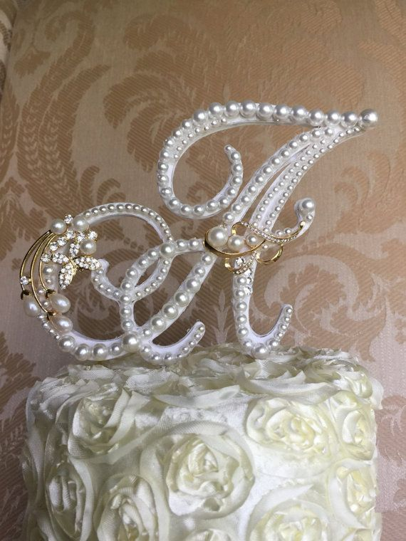 custom   A monogram pearl  wedding cake by TheCrystalFlower
