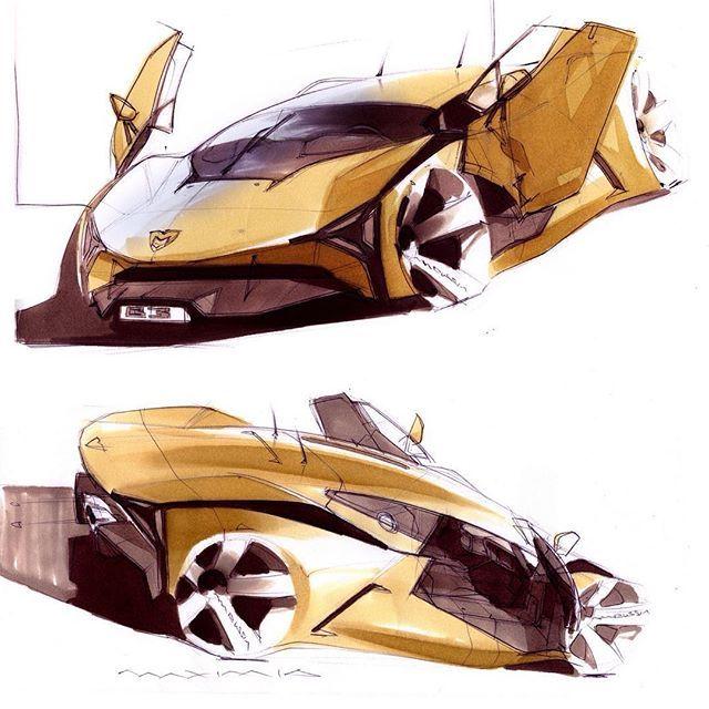 WEBSTA @ cardesignworld - Marussia B3 sketches by Maxim Shershnev #cardesign #car #design #carsketch #sketch #marussia #supercar #markersketch #copic #chartpak