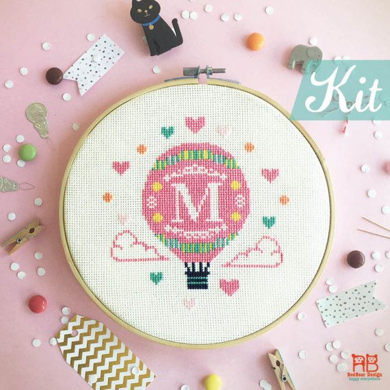 Cross stitch KIT Initial - Hot Air Balloon with Alphabet/Letter cross stitch kit modern - Initial cross stitch