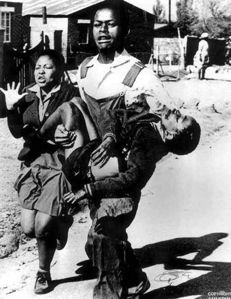 soweto_1976                      Hector Pieterson (1964 – June 16, 1976) became the iconic image of the 1976 Soweto Uprising in apartheid South Africa when a news photograph by Sam Mzima of the dying Hector being carried by a fellow student, was published around the world. He was killed at the age of 12 when the police opened fire on protesting students.