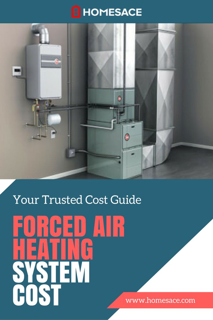 Considering a new or replacement forced air heating system for your home? Here is a breakdown of the average national cost for professional installation. Homesace.com provides you with all the forced air heating tips, advice and costs you need to make your next heating system project so much easier.