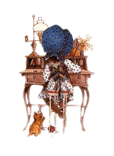 My mom and I were Holly Hobbie fans. Here she is at a Govenor Winthrop desk similar to the one we used to have.