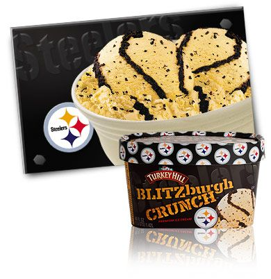 Pittsburgh Steelers Blitzburg Crunch Ice Cream - i live in ohio, this sucks cuz i cant try this icecream. wonder how much it would be to ship it here...?