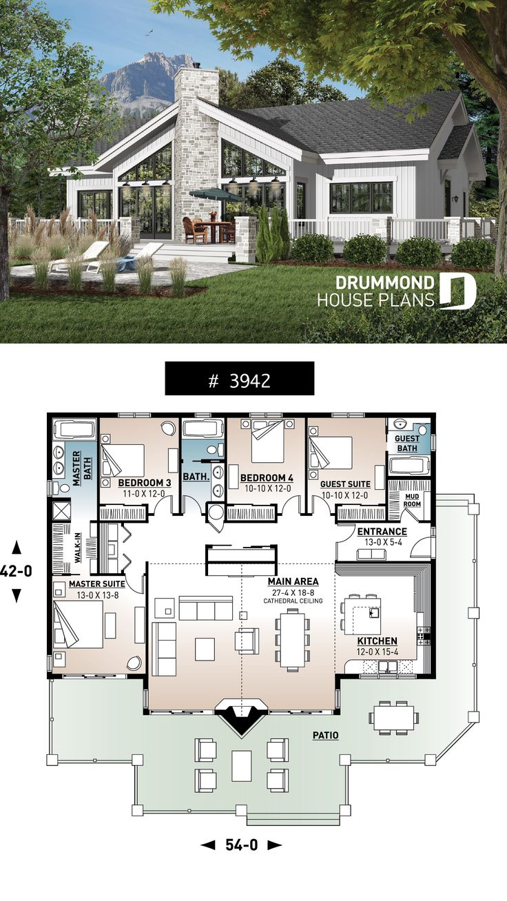 Lakefront house plan of 4 bedrooms