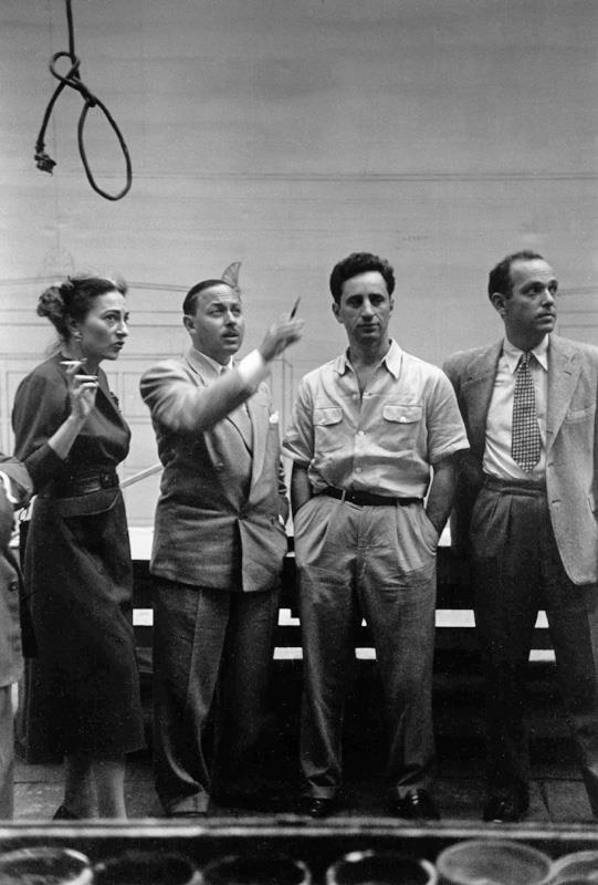 Irene Selznick, Tennessee Williams, Elia Kazan On the set of 'A Streetcar Named Desire' photograph Ruth Orkin