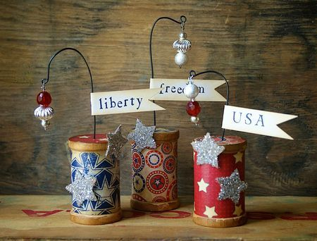 Trio of Little Wooden 4th of July Firecrackers Decor | Hilary