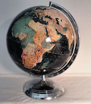 "Antique 1940s WC Weber Costello Peerless 12"" Black Terrestrial World Globe Map"