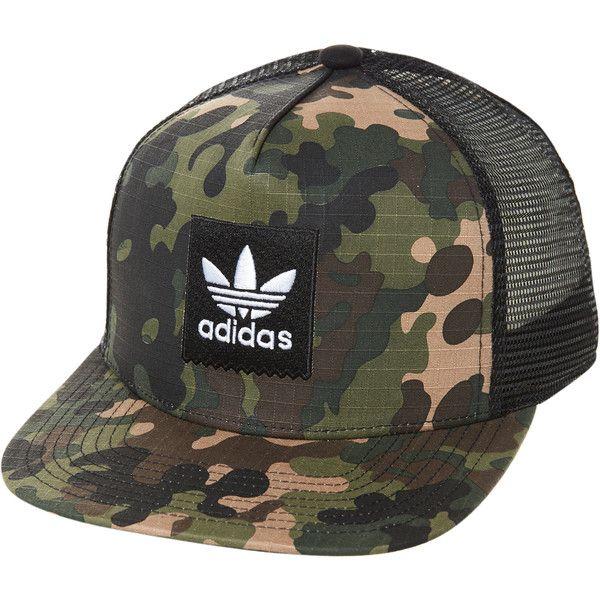 Adidas Originals Camo Trucker Cap Green ($28) ❤ liked on Polyvore featuring men's fashion, men's accessories, men's hats, accessories, green, headwear, men, mens snapbacks, mens trucker hats and mens camo snapback