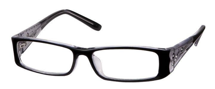 Frame with inset rhinestones plus light & thin Rx lenses, UV & Scratch coatings, and polished edges