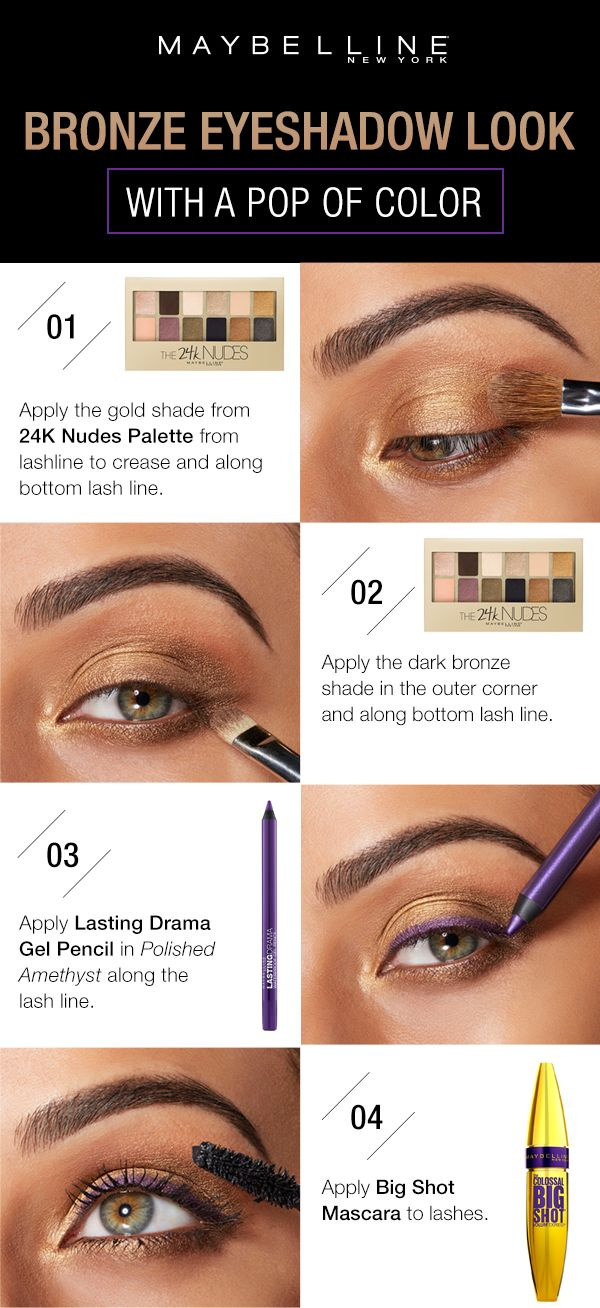The perfect eye makeup for green eyes! Get this bronze smokey eye look with four easy steps. First, use the gold shade in the 24K Nudes Palette from the lashline to the crease and along the bottom lashline.  Next, apply the dark bronze shade in the outer corner and along the bottom lash line.  Then, use Lasting Drama Gel Pencil in 'Polished Amethyst' to line the upper lashline.  Finish the look with Big Shot Mascara through the lashes.