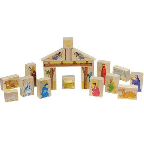 Maple Landmark Crafted from locally sourced, sustainably harvested maple hardwood, this nativity set is colorfully printed on one side. There are 20 pieces, representing Mary, Joseph, baby Jesus, the