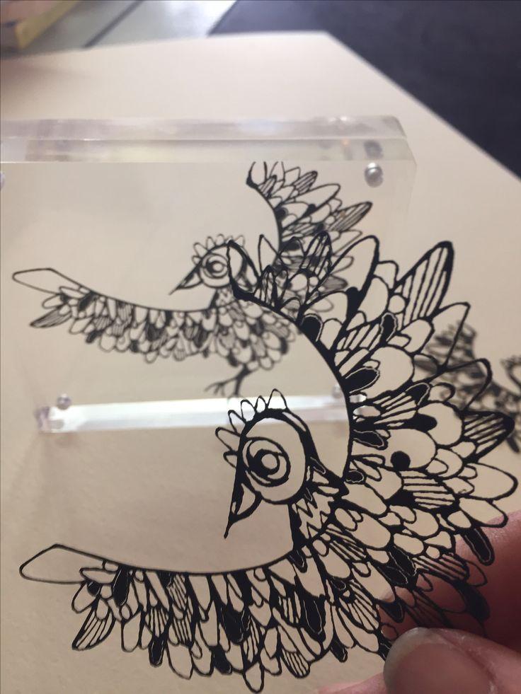 Spirit Bird weeny paper cutting www.annabella67.com Anne Gee designs