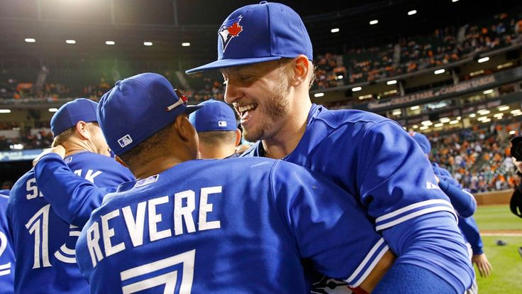 Blue Jays clinch the American League East Toronto Blue Jays' Josh Donaldson, right, celebrates with teammate Ben Revere after winning the first baseball game of a doubleheader against the Baltimore Orioles, in Baltimore, Wednesday, Sept. 30, 2015. (AP / Patrick Semansky)