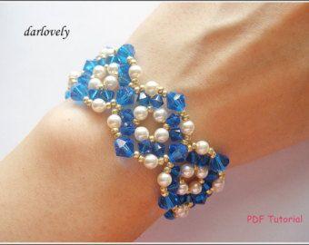 Beaded Bracelet Tutorial Pattern - Golden Blue Crystal Pearl Round Bracelet (BB163) - Beading Jewelry PDF Tutorial (Instant Donwload)