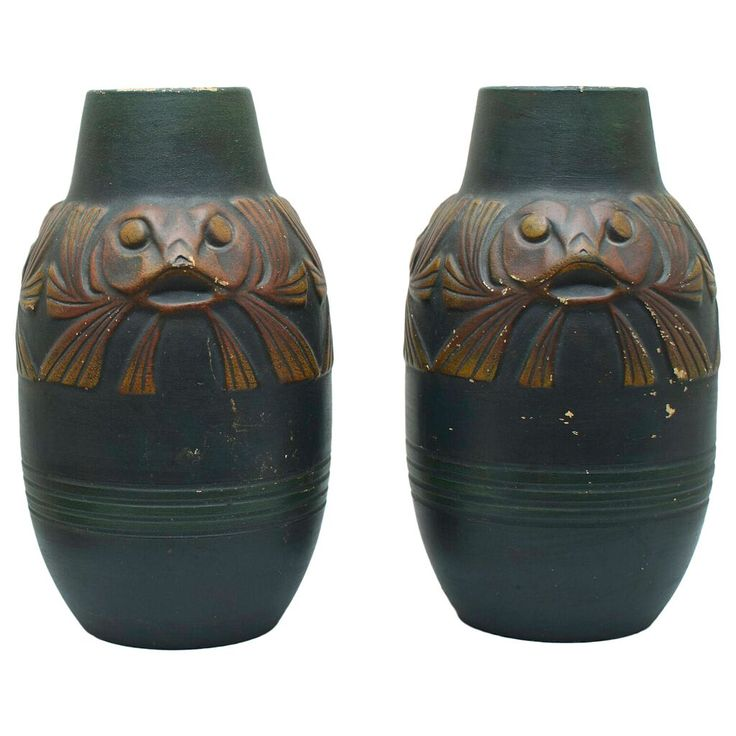Pair of Groto Vase Ibsens Enke Danish 1900s