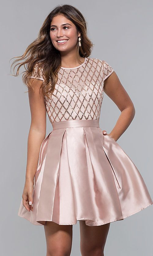 e3eef7a983 Short Sequin-Bodice Satin Homecoming Dress in 2019