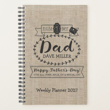 Make Your Own Fathers Day Number 1 Dad Monogram Planner - typography gifts unique custom diy